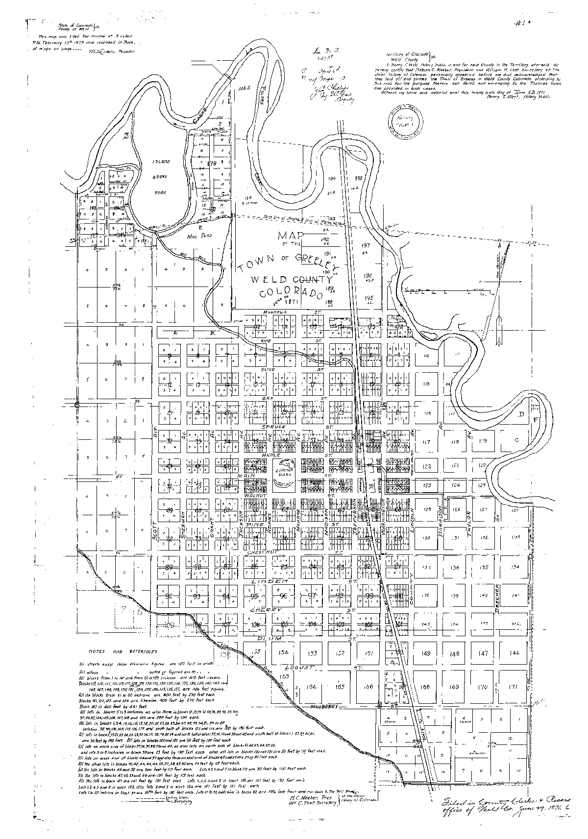 Full 1871 Map of Greeley